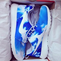 NIKE Women Men Roshe Running Sport Casual Shoes Sneakers Blue sky cloud