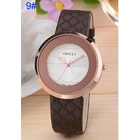 Gucci Pu Watchband More Print Logo watches men's and women's fashion watches B-CTZL Cofffee