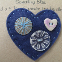 Bride Brooch, Something Old, Something New, Good luck charm for a Bride, Lucky sixpence charm