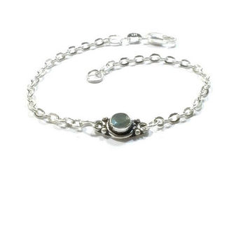 Sterling Silver  Genuine  Labradorite  Bracelet  , Gift For Her