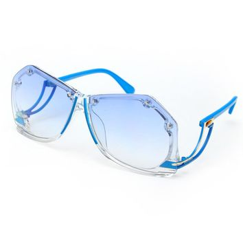 Rimless Sunglasses Square Oversized Ombre Sunglasses