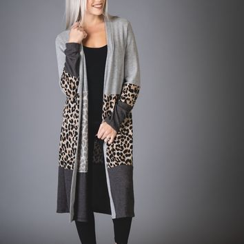 Gray and Leopard Colorblock Duster Cardigan