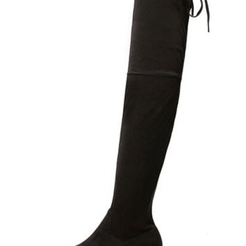 Black Stretch Suedette Lace Up Back Over the Knee Boots