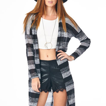 Black Multi Striped Long Cardigan with Elbow Patch