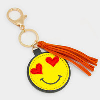 Heart Eyes Emoji Key Chain with Tassel Charm