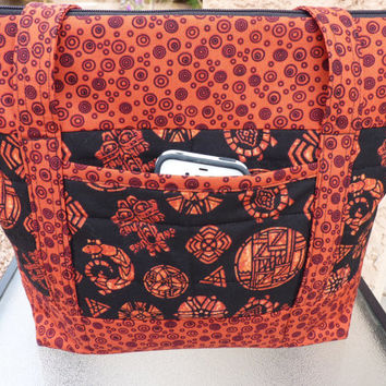 Handcrafted Southwest Red and Black Large Fabric Shoulder Bag/Handbag/Purse/Tote Bag with Zipper Close