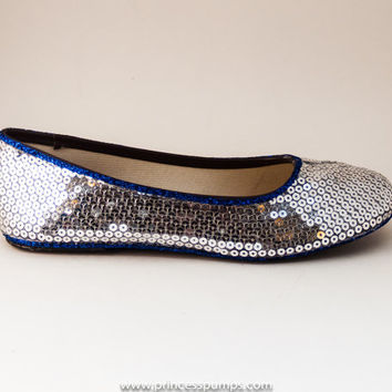 Sequin Sterling Silver with Royal Blue Ballet Flat Slippers Custom Shoes