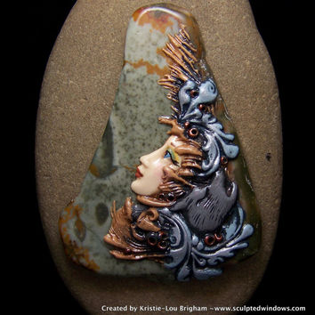 Wolf Goddess face on Picture Jasper Cameo Cabochon or Pendant Polymer Clay and stone