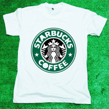 Starbucks - T Shirt Tee Shirt White Women/Unisex screen black and green