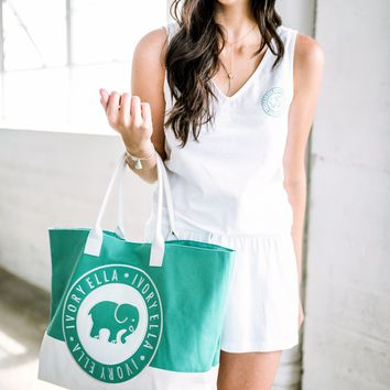 May $75 Green and White Surprise Beach Tote
