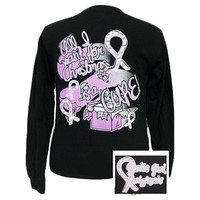 SALE Girlie Girl Originals Christmas Cure Pink Ribbon Breast Cancer Long Sleeve Bright T Shirt