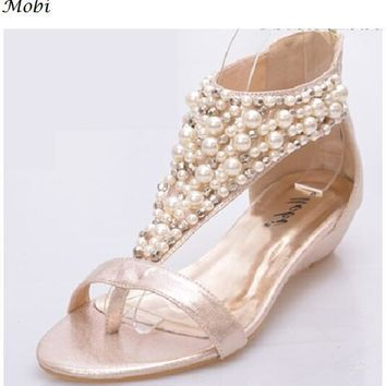 Shoes Woman New Sandals 2018 Summer Beach Shoes Bohemia Flat bottom National Style Bead Crystal Flip Sandals Zip String Bead