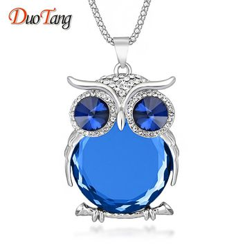 DuoTang High Quality Vintage Owl Pendant Necklaces Zinc Alloy Crystal Trendy Jewelry Long Popcorn Chain Necklace For Women Gift