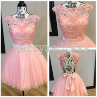 Lace Applique Sheer Straps Ball Gown Short Celebrity Dress, Mini Tulle Formal Evening Party Prom Dress New Homecoming Dress