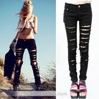 Lookbookstore Black Cut-out Punk Ripped Woman Jeans Jeggings Trousers @lookbookstore #lookbookstore