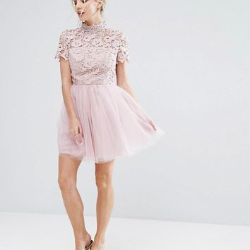 Chi Chi London Petite Lace Top Full Prom Mini Dress With Tulle Skirt at asos.com