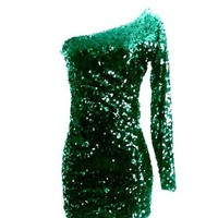 Plus Size Hunter Green Sequin One Sleeve Sequin Dress
