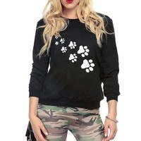 2017 kawaii cat paws print hoodies for Women Casual fleece autumn winter sweatshirt pullovers female black rosy brand tracksuits