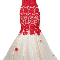 Meier Women's Sleeveless Lace Mermaid Prom Pageant Ball Gown Quinceanera Dress M1401
