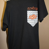 Oklahoma State University Cowboys Pocket Off-the-Shoulder Shirt Chevron