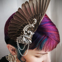 Bird Wing hair fascinator in neutral brown with iridescent black and antique silver. Art Deco. Unique wedding. FREE SHIPPING