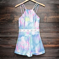 final sale - tie dye the watercolor romper - blue/multi
