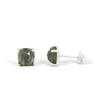 7mm Sterling Silver Cushion Cut Faceted Labradorite Stud Earrings