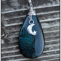 Moon & Stars Agate Wire Wrapped Pendant Necklace