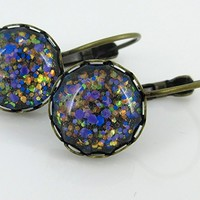 Antiqued Gold-tone Purple Blue Green Iridescent Glitter Glass Lever-back Earrings Hand-painted