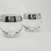 Mid Century Dorothy Thorpe Roly Poly Cocktail Glasses Set of Two