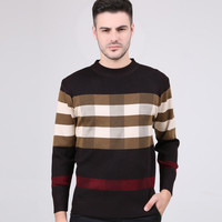 Plaid Paneled Knitted Pullover Sweater
