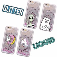 Glitter Liquid Unicorn Donuts Cat Alien Cartoon Hard iPhone Case