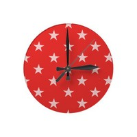Poppy Red And White Stars Round Wall Clock