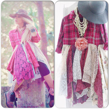 Sale country girl kimono, boho chic riding duster dress, Stevie Nicks style, Fall flannel ragdoll duster, Romantic dress True rebel clothing