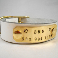 Custom Personalized Leather Dog  Collar - The Name Plate Collar