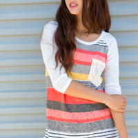 Striped Lace Pocket Baseball Tee