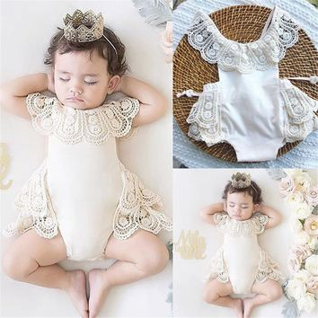 Newborn Infant Baby Girls Lace Flower Romper Bodysuit Outfits Sunsuit Clothes