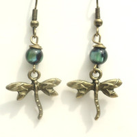 Earthy Dagonfly Earings Antique Brass Green Dragonflies Dangle Earings Unique Gift Under 10 Item C19