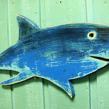 Shark Sign Electric Blue Beach House Wall Art Decor Coastal Nautical