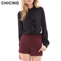CHICING Women Chiffon Blouse 2016 Front Double Flounced Peplum Long Sleeve Stand Collar Black Frill Top Blouse Shirt B1512015