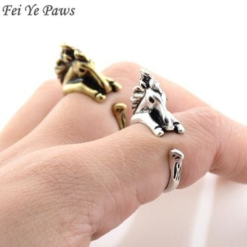 Fei Ye Paws Vintage Mid Finger Bronco Horse Wrap Ring Brass Knuckle Animal Mustang Couple Rings For Women Girls Boho Jewelry