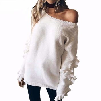 Ruffle Bell Sleeve Knit Sweater
