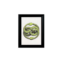 Green Snake Print Framed Wall Hanging