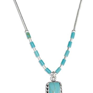 "Sterling Silver 16"" Liquid Silver With Rectangle Simulated Turquoise Necklace"