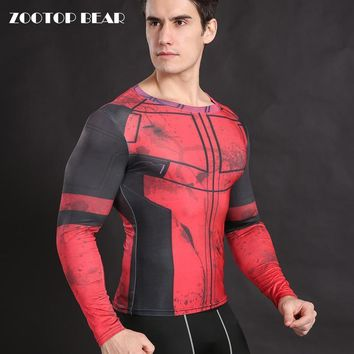 Deadpool Dead pool Taco  Costume Cosplay  T shirt Compression Shirt Tight Fitness Body Building Top Long Sleeve Crossfit Tee ZOOTOP BEAR AT_70_6