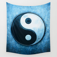 Yin Yang - Scratchy Blue Wall Tapestry by Dirk Czarnota