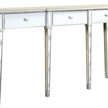 Console Asher Mirrored  Table, Silver, Console Table