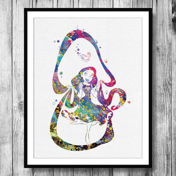 Instant Download Rapunzel Tangled Disney Princess Watercolor Art Digital Printable PNG JPEG Wall Art For Girls Art Clip Art Wall Decor