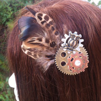 Steam punk owl feather clip. by apeclips on Etsy