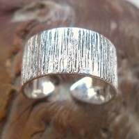 925 Sterling Silver Hammered Toe Ring